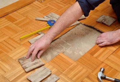 A hardwood floor getting restored in Stamford, CT